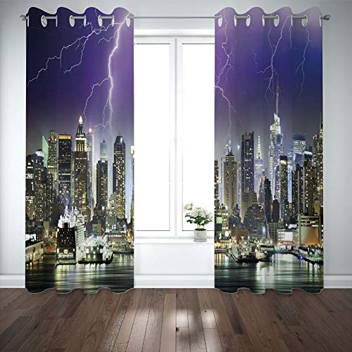 Grommet Blackout Curtains Digital Printing Thermal Insulated Curtains, Living Room Bedroom Window Drapes 2 Panel Set, Multicolor, 108
