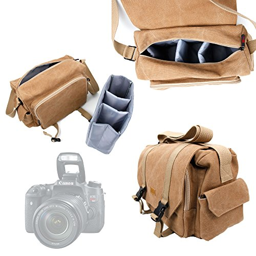 Price comparison product image DURAGADGET Light Brown Canvas Carry Bag for NEW Canon Rebel T6s / Rebel T6i - With Multiple Adjustable Storage Compartments,  Multiple Pockets and a Long Shoulder Strap