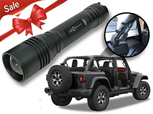 Granite Crystal Metallic LED Flashlight with Roll Bar Holster, Jeep JL Accessories, Zoomable, Ultra Bright, 1000 Real Lumens, Brightness Control, SOS and Strobe 2018 Jeep Wrangler JL Accessories