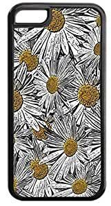 Black and White Yellow Daisies - Case for the Case Cover For HTC One M8 - Hard Black Plastic Snap On Case