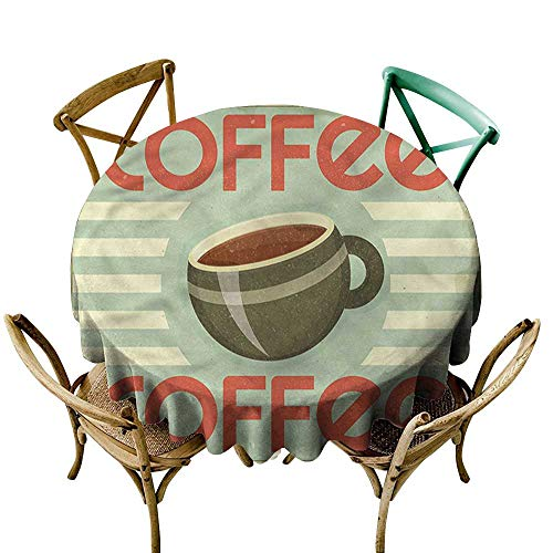 - Luunins Black Round Tablecloth Coffee,Retro Design Menu Artwork D54,for Cards