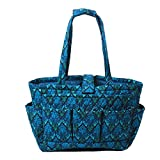 Floral Quilted Cotton Needle Bag Knitting Bag Yarn Storage Tote (Bule Damaks)