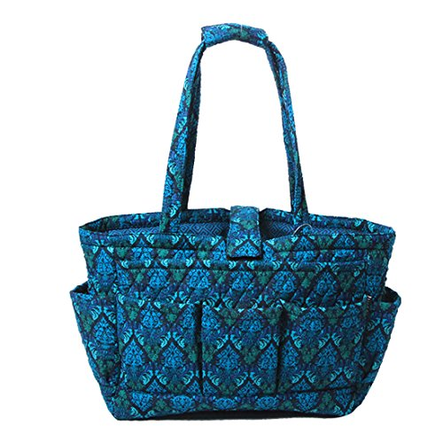 Floral Quilted Cotton Needle Bag Knitting Bag Yarn Storage Tote (Bule Damaks) by MAGOU