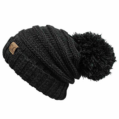 Hatsandscarf CC Exclusives Unisex Oversized Slouchy Beanie with Pom (HAT-6242POM) (Black/Grey Amazon) ()