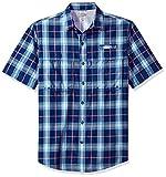 IZOD Men's Surfcaster Short Sleeve Button Down Plaid Fishing Shirt, Deep Blue, Large