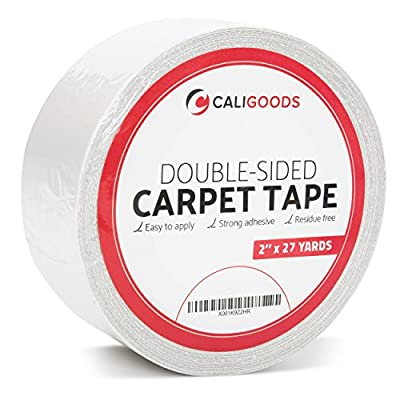 CALIGOODS Multi-Purpose Double Sided Carpet Tape Removable Anti Slip Heavy Duty Carpet Underlayment Adhesive for Indoor and Outdoor, 2-Inch x 27 Yards