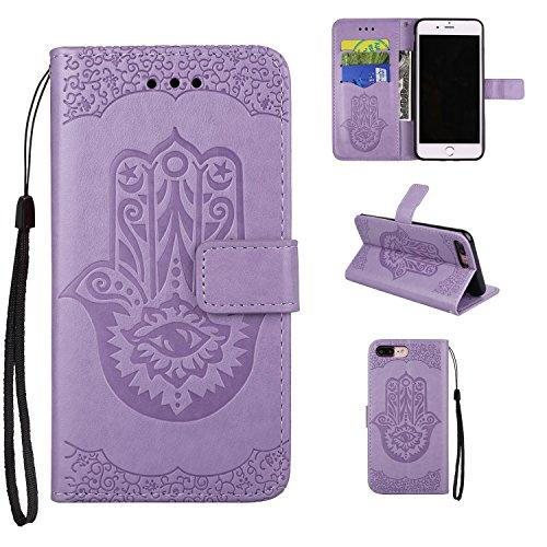 JIALUN-carcasa de telefono Cubierta de cuero de la caja de la PU con la bolsa de la carpeta y acollador y Kickstand para el iPhone 7 más ( Color : Pink ) Purple