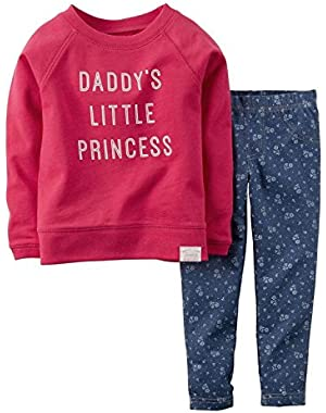 Girls 9 Months Pink Daddys Little Princess 2-Pc Outfit Shirt & Leggings