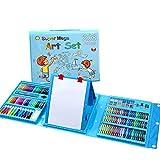 Skiout 176 Pcs Art Set Children Colored Pencil Oil Pastel Watercolor Pan Paints Crayons Drawing Artist Kit,Blue
