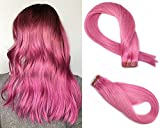 SeaShine Tape in Hair Extensions #Pink 100% Remy Human Hair Extensions Silky Straight for Fashion Women 20 Pcs/Package(20Inch #Pink 50g)