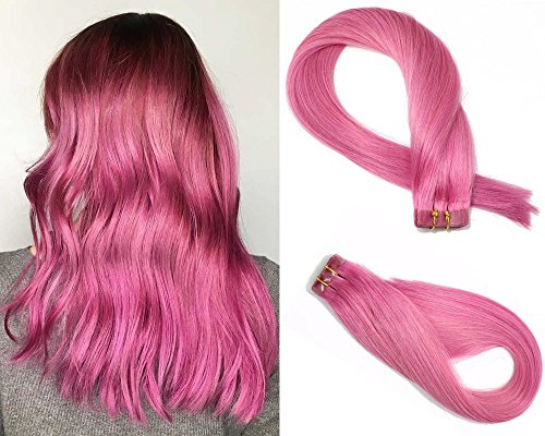 Tape in Hair Extensions #Pink 100% Remy Human Hair Extensions Silky Straight for Fashion Women 20 Pcs/Package(18Inch #Pink 40g)