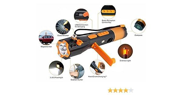 Wrangal 9 en 1 Multifunción de emergencia de emergencia de seguridad de rescate herramienta de seguridad martillo, cortador de cinturón de seguridad, lámpara LED, brújula, radio FM / AM, base magnética y