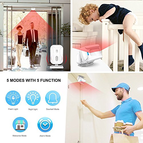 SuperInk 2 Kit Wireless Home Security Alarm PIR Motion Sensor Visitor Guest Entry Doorbell Chime with LED Indicators Infrared Motion Alart with 5 Functions: Welcome/Doorbell/Alarm/Color Light/Lighting by SuperInk (Image #4)
