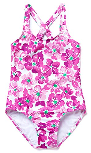 [ALove Girl's Floral One Piece Swimwear Cute Swimming Costumes Purple 9-10 Years] (Swimming Costume For Womens Online)