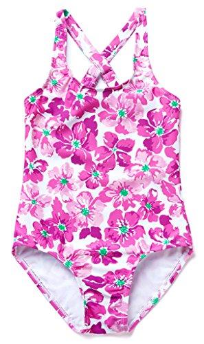 ALove Girl's Floral One Piece Swimwear Cute Swimming Costumes Purple 4-5 Years (Swimming Costumes)