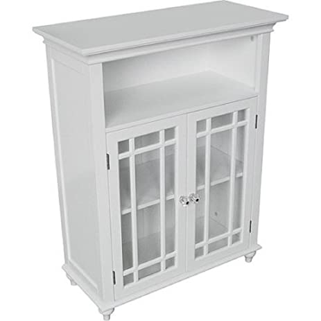 Amazon White Heritage Double Door Floor Cabinet Glass Doors