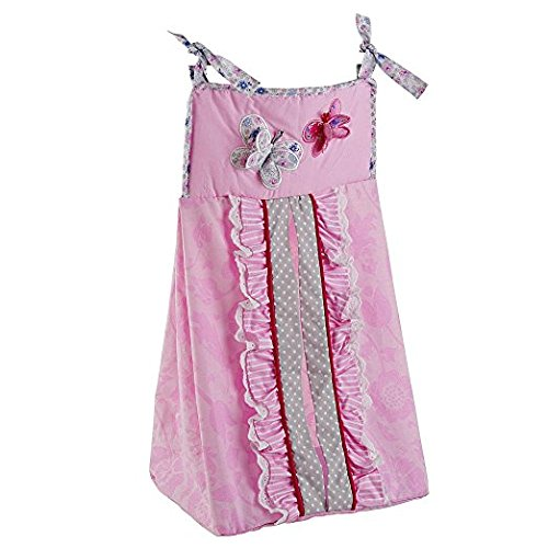 Just Born Antique Chic Diaper Stacker, Butterfly Pink