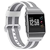 Juvnile Fitbit Ionic Smart Watch Nylon Wrist Watch Band Replacement for Men & Women | Breathable Nylon Sports Watch Wrist Band with Classic Buckle | Durable, Elegant (Pearl+White)