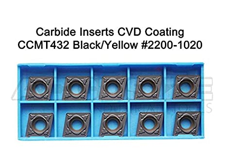 CCMT21.51-MD CVD Coated Carbide Inserts,10 Pcs//Box 2200-1008 Black and Yellow