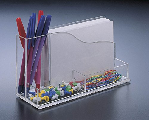 (Acrylic Lucite Desk Organizer w/ 4 X 6 Memo Pad Holder w/ paper)