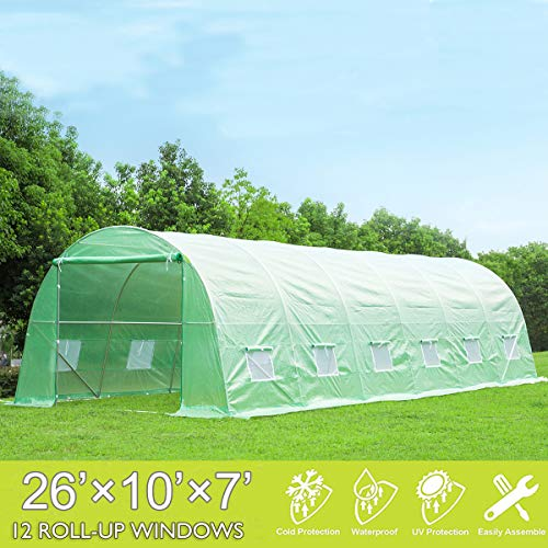 Mellcom 26′ x 10′ x 7′ Greenhouse Large Gardening Plant Hot House Portable Walking in Tunnel Tent,Green