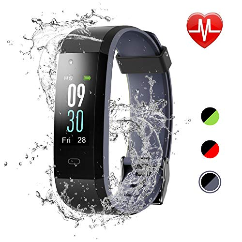 LETSCOM Fitness Tracker Color Screen, IP68 Waterproof Activity Tracker with Heart Rate Monitor, Sleep Monitor, Step Counter, Calorie Counter, Smart Pedometer Watch for Men Women ()