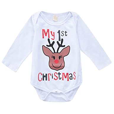 7c91d74f0 FimKaul Newborn Infant Baby Girl Deer Pattern Long Sleeve Romper Jumpsuit  My 1st Christmas Outfit Clothes