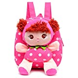 Moolecole Rose Red Cartoon Cute Doll Backpack Toddler Girls Plush Backpack