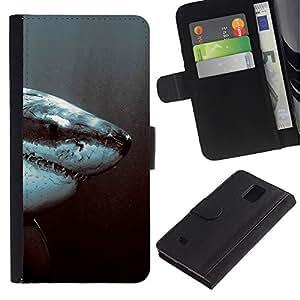 // PHONE CASE GIFT // Moda Estuche Funda de Cuero Billetera Tarjeta de crédito dinero bolsa Cubierta de proteccion Caso Samsung Galaxy Note 4 IV / White Shark Jaw /