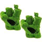 2PCS Mini Green Rockery Coral Reef, Aquarium Moss Rock Fish Tank Ornament Decor