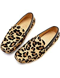 Leopard Haircalf Leather Men's Comfort Slip Ons Loafers Driving Shoes