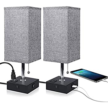 Usb Bedside Table Lamp,ambimall Nightstand Lamp With Usb