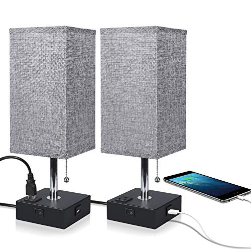 USB Bedside Table Lamp Ambimall Nightstand Lamp with USB Charging Port and Power Outlet, Grey Fabric Shade Desk Lamp for Bedroom, Living Room-2PCS Black Base