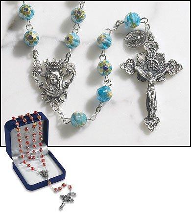 Murano Rosary Crucifix - Aquamarine Murano Rosary