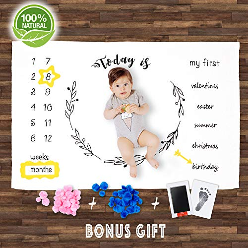 Baby Milestone Blanket Large- Best First Year Photo for Newborn BOY and Girl- Bundle Foot and Hand Print- Best Gift for MOM ON Baby Shower- Best Quality- from Premium Flannel Fleece- Large 100x150 cm