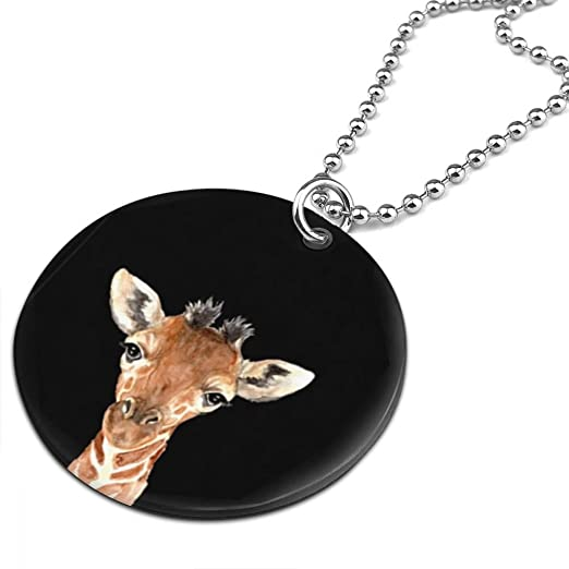 Animal Watercolor Prints Giraffe Unisex Personalized Jewelry Gifts Round Pendant Necklace