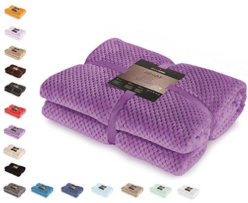 DecoKing Henry Manta de Microfibra 70x150 Extra Suave y Blanda Muy Comoda Caliente y Ligera Violeta