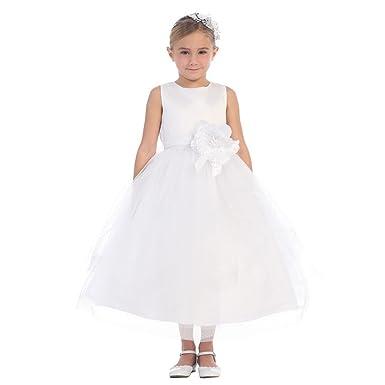 Little Girls White Satin Horse Hair Trim Tulle Elegant Flower Girl ...