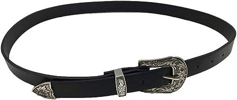 Women Waist Belt Black Leather Western Cowgirl Waistband Single Double Buckle UK