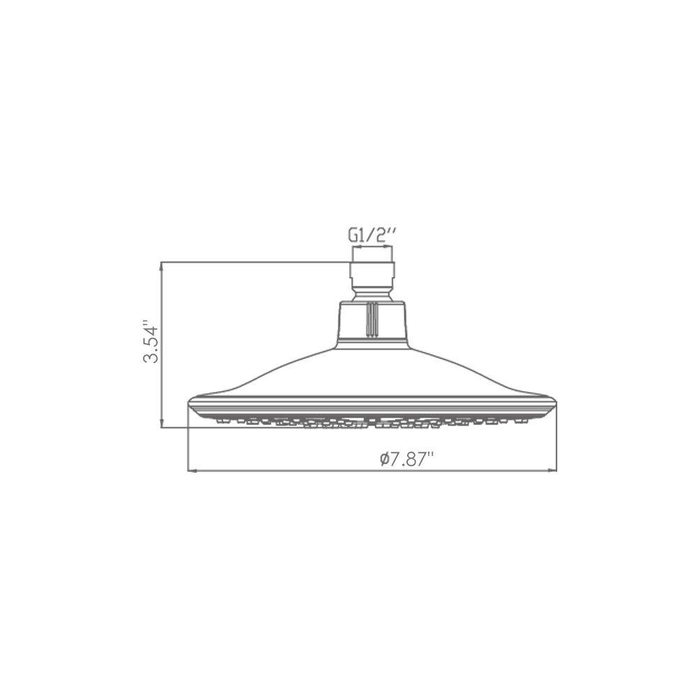 "btcus4 Shower Head Rainfall High Pressure 8"" Adjustable Metal 360 Swivel Bathroom showerhead Chrome Finish"