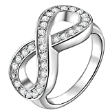 Gorgeous Angel Women's 18K White Gold Plated Infinity Rings Infinity Love Promise Rings for Her CZ Crystal Friendship Rings Wedding Engagement Band Size 8
