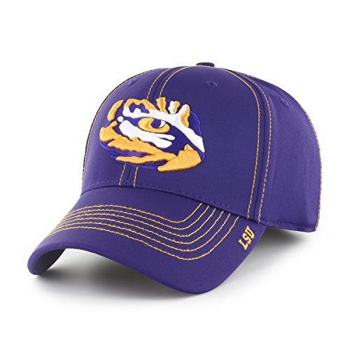 (NCAA LSU Tigers Adult Start Line Ots Center Stretch Fit Hat, Medium/Large, Purple)