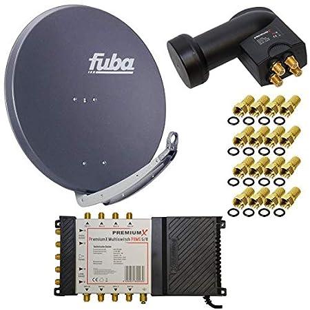 8 Teilnehmer Satelliten Anlage Antenne Fuba 85x85 cm Alu Anthrazit DAA 850 A + PremiumX Multischalter 5/8 Multiswitch Matrix
