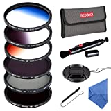 filter 77mm kit - Beschoi77MM ND Filter Kit (ND4 + ND8), Graduated Color Filter Set (Orange Blue Gray), CPL Filter, Center Pinch Lens Cap + Cap Keeper Leash + Lens Cleaning Pen + Filter Carry Pouch + Cleaning Cloth