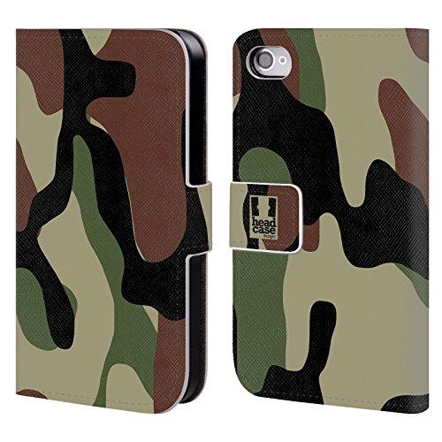 Head Case Designs Région Boisée Camouflage Étui Coque De Livre En Cuir Pour Apple iPhone 4 / 4S
