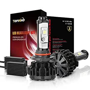 TOPINNO LED Headlight Bulbs Conversion Kit, Extremely Bright CREE XHP50 10000LM, 9005(HB3) - 6000K Xenon White Headlight Assembly