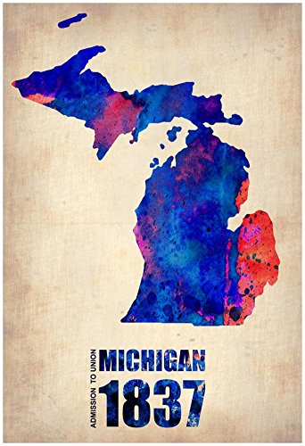 Michigan Watercolor Map Poster by NaxArt 13 x 19in