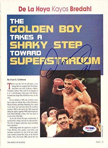 Oscar De La Hoya Authentic Autographed Signed Magazine Page Photo S42249 PSA/DNA Certified Autographed Boxing Magazines