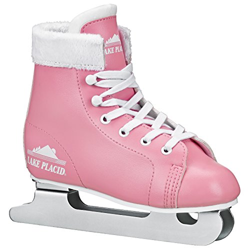 Lake Placid Starglide Girl's Double Runner Figure Ice Skate, Pink/White, Y10
