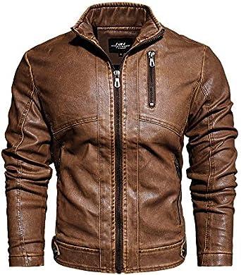 JUSHINI Hommes Manteaux Blousons Cuir Zipp/é/Col Droit Manche Longue Vintage Gothique Mode Veste Jackets Hiver